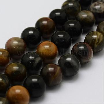 Natural Petrified Wood Bead Strands, Round, 8mm, Hole: 1mm; about 47pcs/strand, 14.9''(38cm)(G-G687-26-8mm)