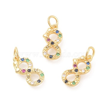 Golden Colorful Number Brass+Cubic Zirconia Charms