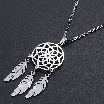 201 Stainless Steel Pendants Necklaces, with Cable Chains and Lobster Claw Clasps, Woven Net/Web with Feather, Stainless Steel Color, 17.71 inches(45cm), 1.5mm(NJEW-S105-JN727-45-1)