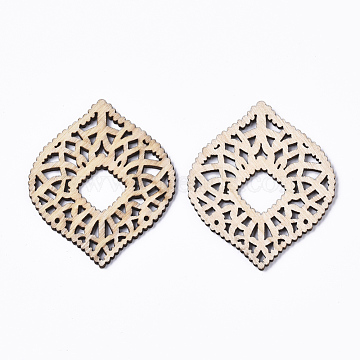 Undyed Natural Wood Filigree Joiners Links, Laser Cut Filigree Joiners Links, Horse Eye, AntiqueWhite, 58x48x2.5mm, Hole: 1.2mm(X-WOOD-T028-13)