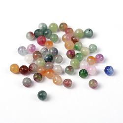 Perles de jade naturelles deux tons, teint, rond, couleur mixte, 6 mm; trou: 1 mm(X-G-R165-6mm-M1)