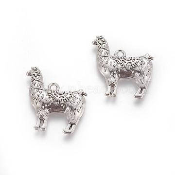 Tibetan Style Zinc Alloy Pendants, Llama/Alpaca, Antique Silver, 25x22x3mm, Hole: 1mm(X-PALLOY-P178-25AS)