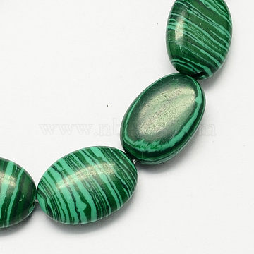 18mm DarkGreen Oval Malachite Beads