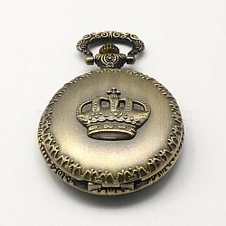 Vintage Zinc Alloy Quartz Watch Heads for Pocket Watch Pendant Necklace Making, Flat Round with Crown, Antique Bronze, 59x46x17mm, Hole: 15x5mm(WACH-R005-24)
