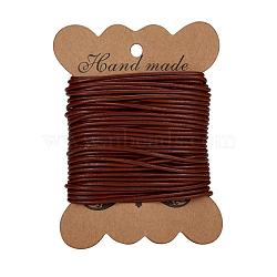 cordon de cuir de vachette , cordon en cuir de bijoux, bricolage bijoux matériau de fabrication, arrondir, teints, SaddleBrown, sur 2 mm(X-LC-2MM-02)