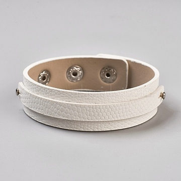 PU Leather Cord Bracelets, with Iron Findings, Platinum, White, 8 inches(20.4cm); 18x5.5mm(BJEW-E350-12D)