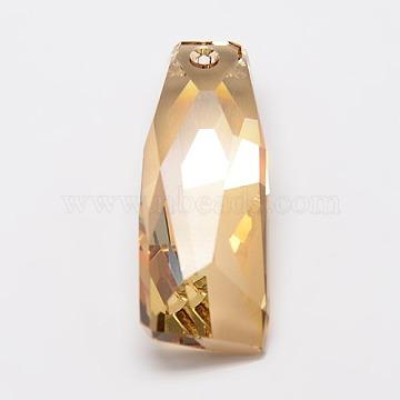 Austrian Crystal 6019/G Petite Crystalactite Pendants, 246_Lt. Colorado Topaz, 35x13x10mm, Hole: 1.5mm(SWAR-D002-246)