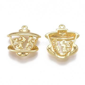Brass Pendants, Hollow, Teacup, Real 18K Gold Plated, 16.5x16x5mm, Hole: 1mm(X-KK-T038-127G)