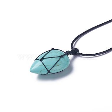 Synthetic Turquoise Beaded Pendant Necklaces(NJEW-G324-B01)-2