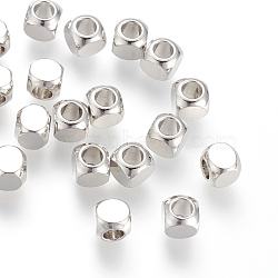Brass Spacer Beads, Real Platinum Plated, Cube, 5x5mm, Hole: 3mm