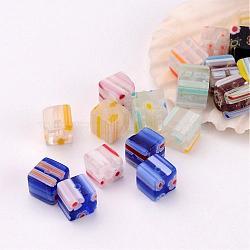 Handmade Millefiori Glass Cube Beads, Mixed Color, 6x6x6mm, Hole: 1mm(X-LK-P014-M)