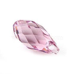 pendentifs en cristal autrichien, goutte de briolette, rose clair, 6.5 mm de large, 13 mm de long(X-6010-13X6.5MM-223)