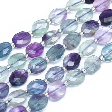 Natural Fluorite Beads Strands, Faceted, Oval, 10x8x3.5mm, Hole: 1.2mm; about 33~34pcs/strand, 15.35inches~15.7inches(39~40cm)(G-E530-10A)