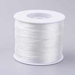 Korean Flat Elastic Crystal String, Elastic Beading Thread, for Stretch Bracelet Making, White, 0.5mm; about 500m/roll(EW-G005-0.5mm-14)
