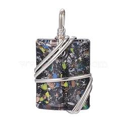 Pendentifs en chandelier en laiton, rectangle, platine, noir, 64~67x37x14mm, Trou: 7~9x8~9mm(PALLOY-J356-08E)