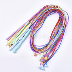 Crochets en crochet en plastique abs, avec fil de pvc, couleur mixte, 1200x3.5~12mm; broches: 3.5~12mm; 12pcs / set(TOOL-T006-46)