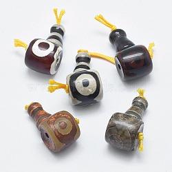 agate naturelle dzi, 3 perles trou gourou, perles t-percées, pour la fabrication de bijoux bouddhiste, couleur mélangée, 27x14x13 mm, trou: 2 mm(TDZI-I002-01)