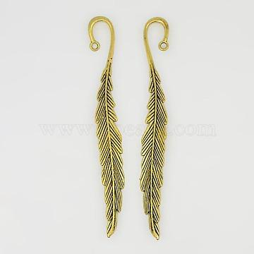 Tibetan Style Bookmarks, Lead Free & Nickel Free & Cadmium Free, Leaf, Antique Golden, 117x13x4mm, Hole: 2mm(X-TIBEP-48334-AG-FF)