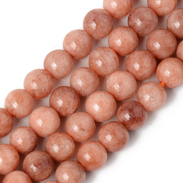 Natural Natural Chalcedony Beads Strands, Dyed & Heated, Imitation Sunstone, Round, Dark Salmon, 6~6.5mm, Hole: 1mm; about 65pcs/strand, 15.75 inches(40cm)(G-R479-6mm-11)