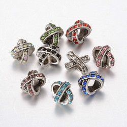 Tibetan Style Alloy Rhinestone Large Hole Beads, Mixed Color, 12x9x9mm, Hole: 6mm(X-MPDL-F017-13)