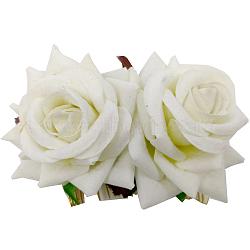 Peignes en fer, de velours fleur, beige, 90x60mm(OHAR-Q280-01D)