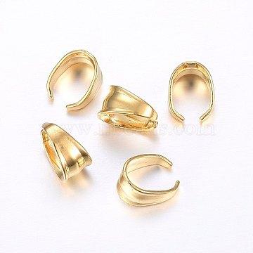 304 Stainless Steel Snap on Bails, Golden, 8x8x4.5mm; Inner: 7x6mm(STAS-O098-12G-01)