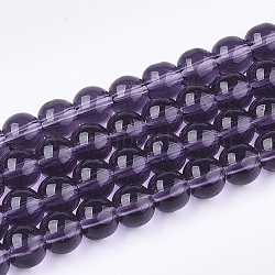 Glass Beads Strands, Round, Purple, 6mm, Hole: 1mm; about 50pcs/strand, 13inches