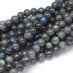 Natural Labradorite Round Bead Strands, Grade AA, 12mm, Hole: 1mm; about 33pcs/strand, 16inches