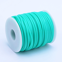 Hollow Pipe PVC Tubular Synthetic Rubber Cord, Wrapped Around White Plastic Spool, MediumTurquoise, 4mm, Hole: 2mm; about 15m/roll(RCOR-R007-4mm-07)