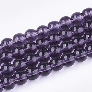 6mm Purple Round Glass Beads