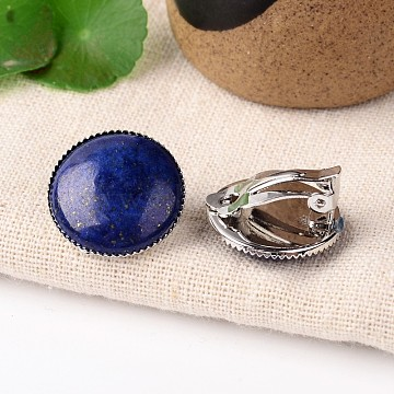 Natural Lapis Lazuli Dome/Half Round Clip-on Earrings, with Platinum Plated Brass Findings, 21mm(EJEW-J090-02)