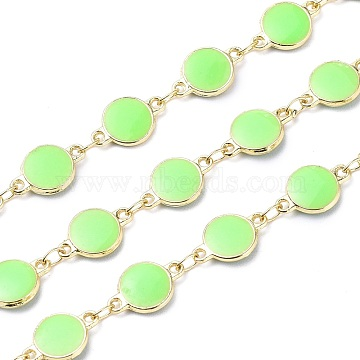 Handmade Alloy Enamel Flat Round Link Chains, with Spool, Soldered, Long-Lasting Plated, Lead Free & Cadmium Free, Golden, Light Green, 13x8x2.3mm(ENAM-F138-03A-RS)