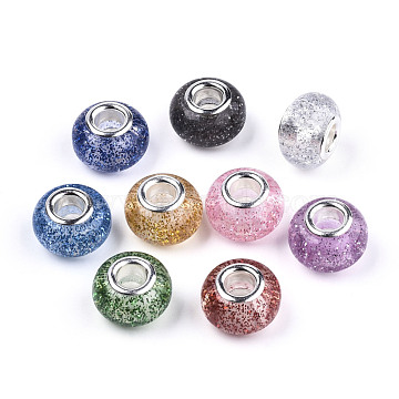 Epoxy Resin European Beads, Large Hole Beads, with Glitter Powder and Platinum Tone Brass Double Cores, Rondelle, Mixed Color, 14x9mm, Hole: 5mm(RPDL-N015-02)