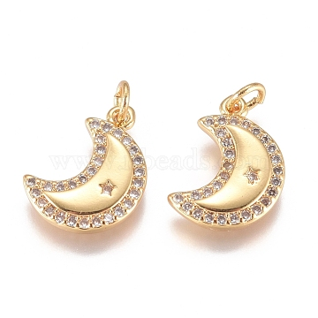 Brass Micro Pave Cubic Zirconia Pendants, with Jump Ring, Long-Lasting Plated, Moon with Star, Clear, Golden, 13.5x9.5x2mm, Hole: 1.3mm(X-ZIRC-G168-25G)
