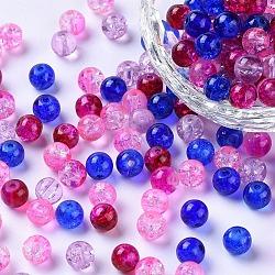 Perles de verre craquelé peintes, mélange de la Saint-Valentin, rond, couleur mixte, 6~6.5x5.5~6mm, trou: 1 mm; environ 200 PCs / sachet (DGLA-X0006-6mm-02)