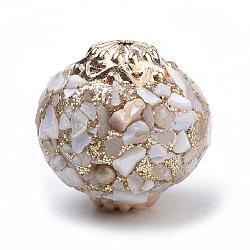 Perles d'Indonésie main, avec des résultats en alliage et une coquille, arrondir, or rose, antiquewhite, 19x19 mm, trou: 1.5 mm(X-IPDL-S053-50F)