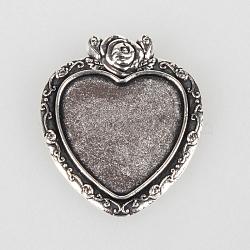 Supports de cabochon en alliage de style tibétain, coeur avec rose, argent antique, plateau: 24x23 mm; 38x33x2 mm, Trou: 6x3mm(X-TIBEP-N003-16AS)