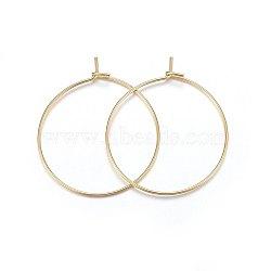 304 boucles d'oreilles en acier inoxydable, anneau, or, 25x0.7 mm(X-STAS-P210-26G-02)