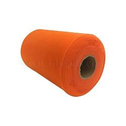 Tissu de filet, Tissu à carreaux en tulle pour la fabrication de jupe, orange rouge , 6'' (15 cm); environ 100 mètres / rouleau (91.44 m / rouleau)(OCOR-P010-D-C12)