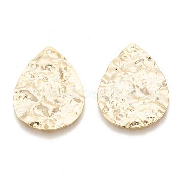 Brass Pendants, Teardrop, Bumpy, Nickel Free, Real 18K Gold Plated, 33x23x1mm, Hole: 1mm(X-KK-N186-03)