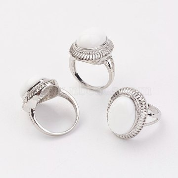 Porcelain Finger Rings, with Alloy Ring Finding, Platinum, Oval, Size 8, 18mm(RJEW-P122-22)