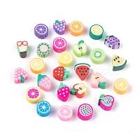 Ручной работы из полимерной глины фрукты тематические шарики, разноцветные, 7~12x8~10x4~5 мм, отверстие : 2 мм