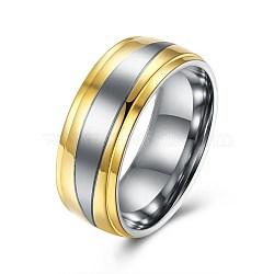Bagues en acier titane pour hommes, anneau à large bande, taille 10, or, 19.8mm(RJEW-BB27605-A-10)