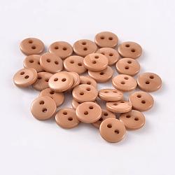 Boutons de couture en résine ronde et plate pour la création de costumes avec 2 trou, Pérou, 9x2mm, Trou: 1mm(BUTT-E119-14L-09)