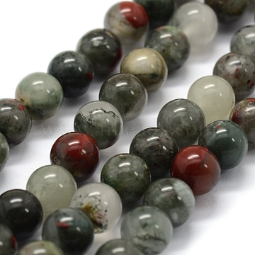 Natural African Bloodstone Beads Strands, Heliotrope Stone Beads, Round, 8~9mm, Hole: 0.8mm; about 43pcs/strand, 14.9 inches(38cm)(X-G-G763-08-8mm)