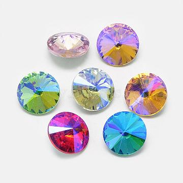Pointed Back Glass Rhinestone Cabochons, Rivoli Rhinestone, Back Plated, Faceted, AB Color Plated, Cone, Mixed Color, 14x6.5mm(RGLA-T021-14mm)