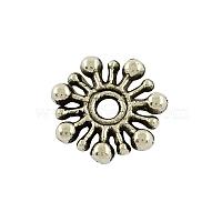 Тибетский стиль цветка сплава разделительные бусины, без кадмия и без свинца, античное серебро, 9.5x2 мм, отверстие : 2 мм