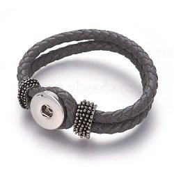 cuir encliquetage fabrication de bracelets, avec des boutons-pression en laiton et les conclusions de l'alliage, gris, 230x19 mm; demi-trou: 4x6 mm, boutons pression ajustement dans 5~6 mm bouton(AJEW-R022-05)