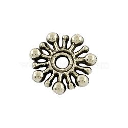 Fleur de séparateurs perles alliage de style tibétain, sans plomb, argent antique, 9.5x2mm, Trou: 2mm(X-TIBEB-5532-AS-LF)