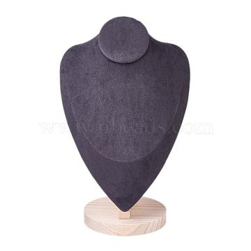 Necklace Bust Display Stand, with Wood Base, Microfiber Cloth and Card Paper, Black, 18.4x27.7cm(NDIS-I002-01C)